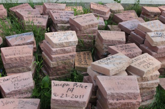 The Roseland Memorial. Each brick represents a life killed by gun violence in our Chicago community
